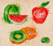Fruit watercolor watermelon, kiwi, apple red in. Fruit set drawn watercolor blots and stains with a spray watermelon, kiwi, apple red in kraft Stock Photos