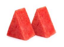 Fruit, watermeloenplak op witte achtergrond wordt geïsoleerd die Stock Afbeeldingen