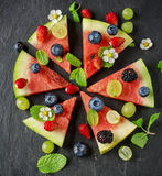 Fruit watermelon pizza with fresh berries Royalty Free Stock Photos