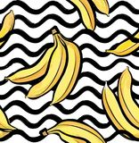Fruit wave seamless pattern with banana. Food background Royalty Free Stock Photo