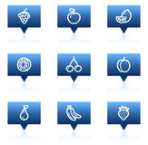 Fruit web icons, blue speech bubbles series Royalty Free Stock Photography