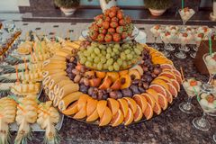 Fruit at the wedding reception. T at the wedding reception restaurant, banquet Stock Image