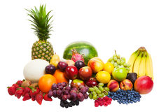 Fruit on white stock photos