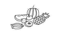 Fruit on white background. Drawing fruit on white background Royalty Free Stock Images