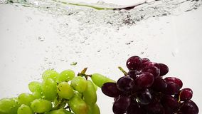 Red and green grapes falling into water with bubbles in slow motion. Fruit on white background. Fruit on white background. Red and green grapes falling into stock video footage