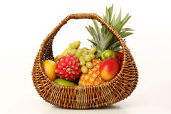 Fruit in a wicker basket Stock Images