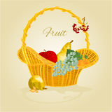 Fruit in a wicker basket Vector Royalty Free Stock Photos