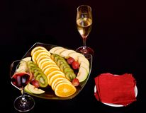 Fruit with wine Royalty Free Stock Images