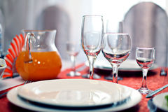 Fruit wine glasses in a restaurant table setting Royalty Free Stock Photography