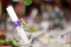 Fruit wine glasses in a restaurant table setting Stock Photos