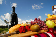 Fruit and Wine picnic Royalty Free Stock Photos