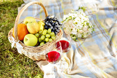 Fruit and wine Stock Photography