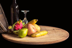 Fruit and wine on a tray Royalty Free Stock Photo