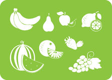 Fruit wit silhouet Stock Foto