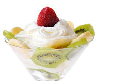 Fruit With Whipped Cream Stock Photo
