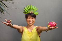 Fruit woman Stock Images