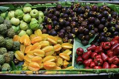 Fruit in Wooden Boats Royalty Free Stock Photography