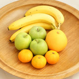 Fruit in a Wooden Bowl Royalty Free Stock Photos