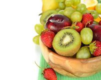 Fruit in wooden bowl Royalty Free Stock Photo