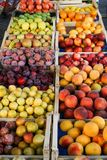 Fruit in wooden boxes royalty free stock photo