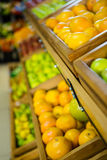 Fruit in wooden boxes Royalty Free Stock Photography
