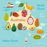 Fruit world map, Australia Royalty Free Stock Photography