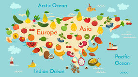 Fruit world map, Eurasia. Stock Images