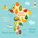 Fruit world map, South America Stock Images