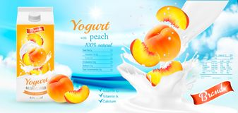 Fruit yogurt with berries advert concept. Royalty Free Stock Photo