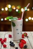 Fruit yogurt with berries in a glass Stock Photos