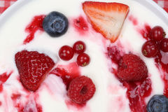 Fruit yogurt for breakfast Royalty Free Stock Photo