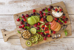 Fruit and yogurt for breakfast Royalty Free Stock Images