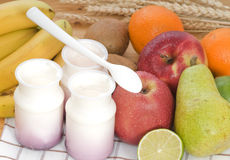 Fruit yogurt with cereal Stock Image