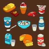 Fruit yogurt and cottage cheese with berries, milk in carton pack and glass cup with milk, whipped sour cream, ice cream. Dairy milk products colored  icons set Royalty Free Stock Photos