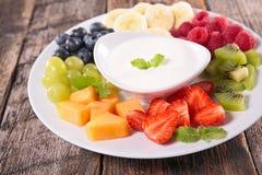 Fruit and yogurt cream Stock Photography