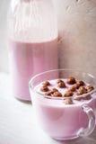 Fruit yogurt with crisp chocolate ball in the glass bowl vertical Stock Photo
