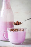 Fruit yogurt with crisp chocolate ball in the glass bowl Royalty Free Stock Image
