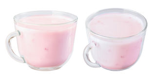 Fruit yogurt in a cup of glass, isolate . Royalty Free Stock Photos