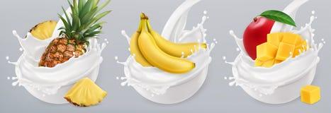 Fruit yogurt. 3d vector icon set. Fruit yogurt. Banana, mango, pineapple and milk splashes. 3d realistic vector icon set Royalty Free Stock Image