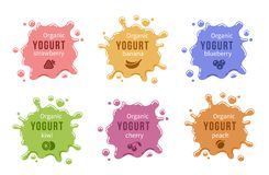 Fruit yogurt logos set. Milk product food strawberry cherry and peach, banana and blueberry. Vector illustration Royalty Free Stock Photos