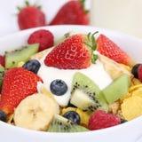 Fruit yogurt with milk for breakfast Royalty Free Stock Photos