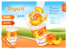 Fruit yogurt with peach advert concept. Yogurt flowing into a plastic cup with fresh peach. Design template. Vector stock illustration