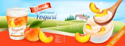 Fruit yogurt with peach advert concept. Stock Image