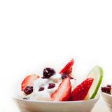 Fruit and yogurt salad healthy breakfast Stock Photos