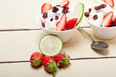 Fruit and yogurt salad healthy breakfast Royalty Free Stock Image