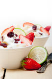 Fruit and yogurt salad healthy breakfast Royalty Free Stock Photo