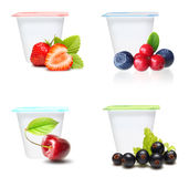 Fruit yogurt set Stock Photo