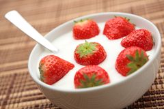 Fruit Yogurt with Strawberries Stock Photography