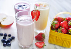 Fruit yogurts Royalty Free Stock Images