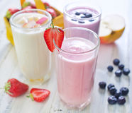 Fruit yogurts Stock Images